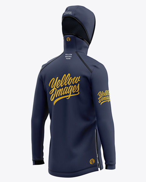 Basketball Full-Zip Hoodie Mockup - Back Half Side View