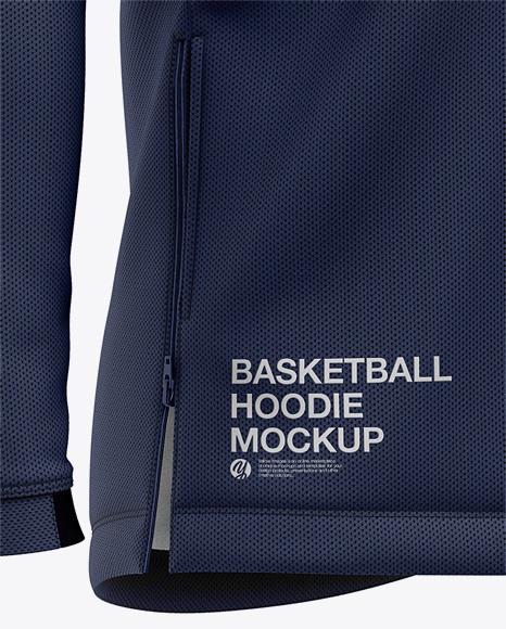 Basketball Full-Zip Hoodie Mockup - Front Half Side View