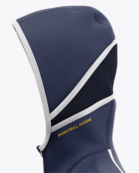 Basketball Full-Zip Hoodie Mockup - Side View Of Hooded Jacket