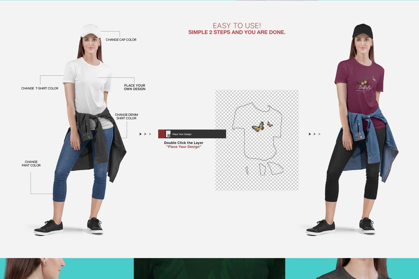 Women's Crew Neck T-Shirt Mockup