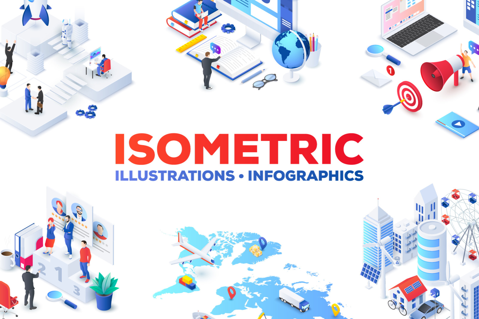 Isometric illustrations templates