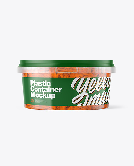 Download Plastic Container with Carrot PSD Mockup