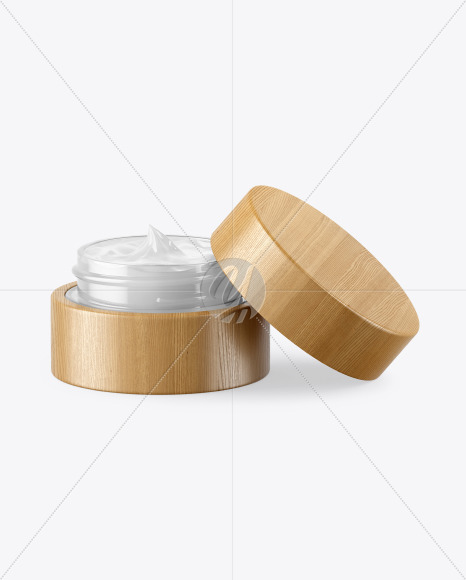 Opened Clear Glass Cosmetic Jar in Wooden Shell Mockup