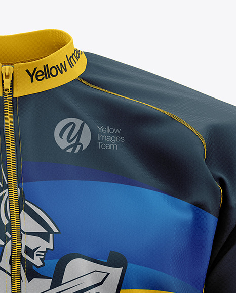 Download Mens Full Zip Cycling Jersey With Long Sleeve Mockup Half Side View Yellow Images