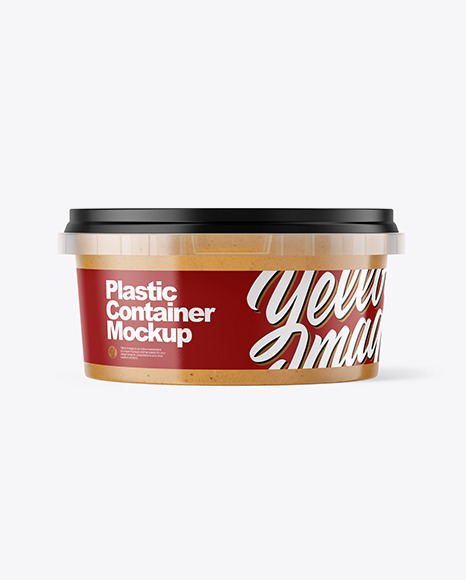 Download Plastic Container with Peanut Butter PSD Mockup