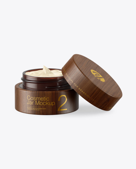 Opened Dark Amber Glass Cosmetic Jar in Wooden Shell Mockup