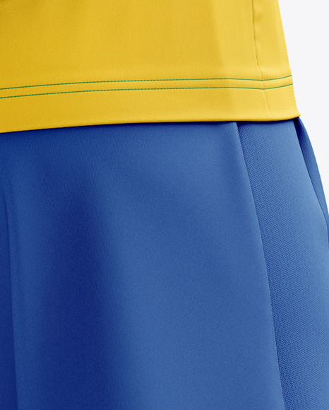 Men's Full Soccer Kit with Open Collar mockup (Hero Back Shot)