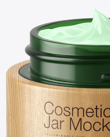 Opened Dark Green Glass Cosmetic Jar in Wooden Shell Mockup