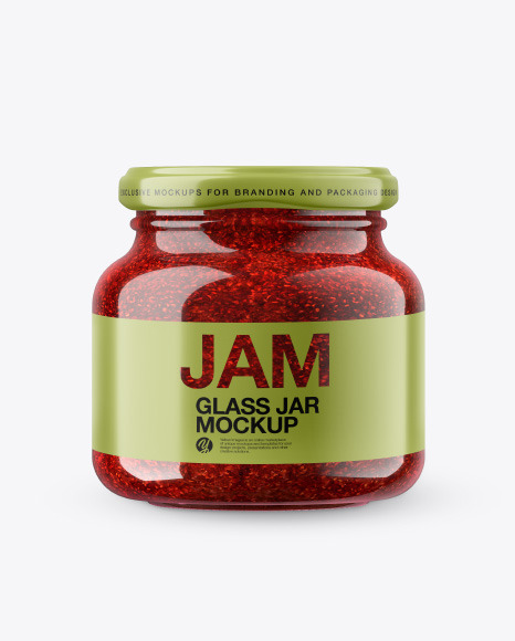 Download Glass Raspberry Jam Jar in Shrink Sleeve PSD Mockup