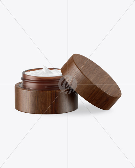 Opened Amber Frosted Glass Cosmetic Jar in Wooden Shell Mockup