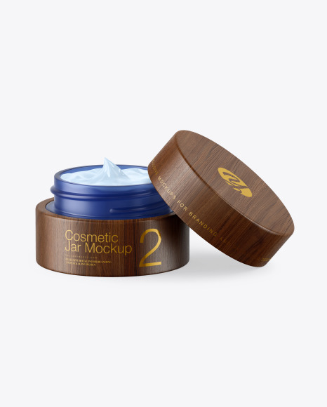 Download Opened Blue Frosted Glass Cosmetic Jar in Wooden Shell PSD Mockup
