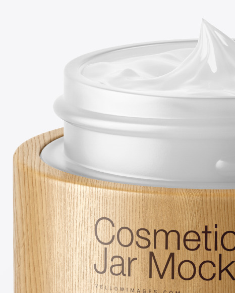 Opened Frosted Glass Cosmetic Jar in Wooden Shell Mockup