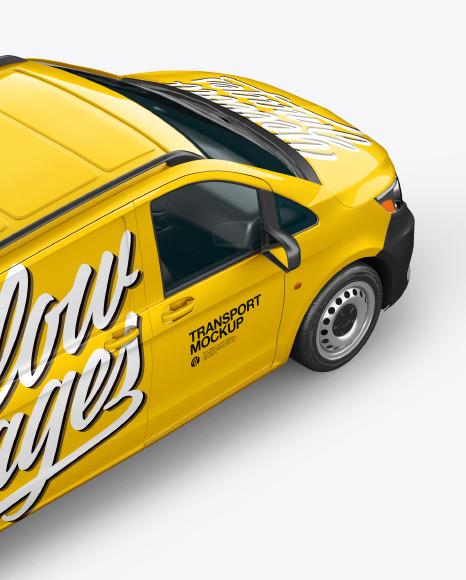 Download Panel Van Back Half Side View 2020HighAngle Shot PSD Mockup