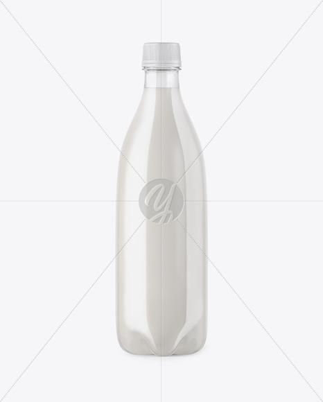 Clear PET Bottle with Milk Mockup