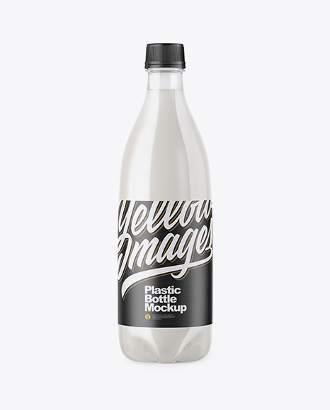 Download Clear PET Bottle with Milk PSD Mockup