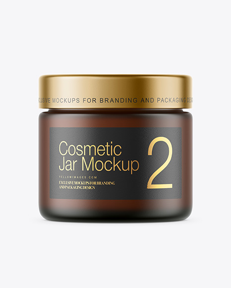 Download Frosted Amber Glass Cosmetic Jar PSD Mockup