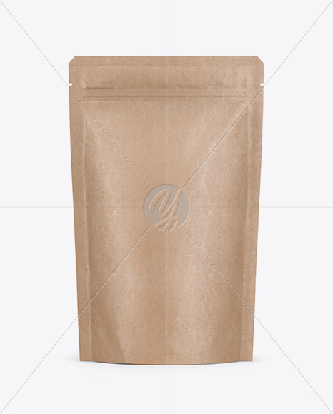 Kraft Stand Up Pouch with Zipper Mockup - Front View