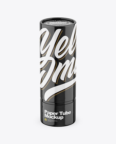 Download Glossy Paper Tube Front View 2020HighAngle Shot PSD Mockup