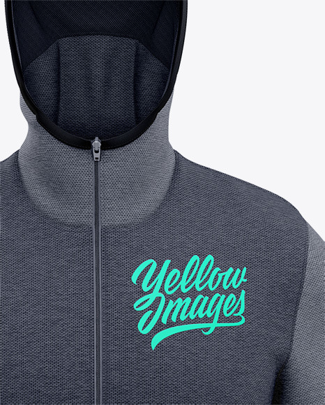 Basketball Heather Hoodie Mockup - Front View Of Hooded Jacket