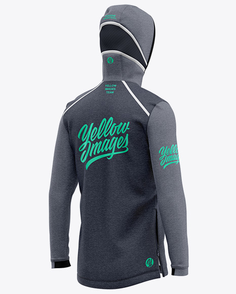 Basketball Heather Hoodie Mockup - Back Half Side View Of Hooded Jacket