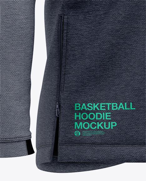 Basketball Heather Hoodie Mockup - Front Half Side View