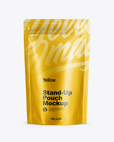 Download Matte Metallic Stand Up Pouch with Zipper Front View PSD Mockup