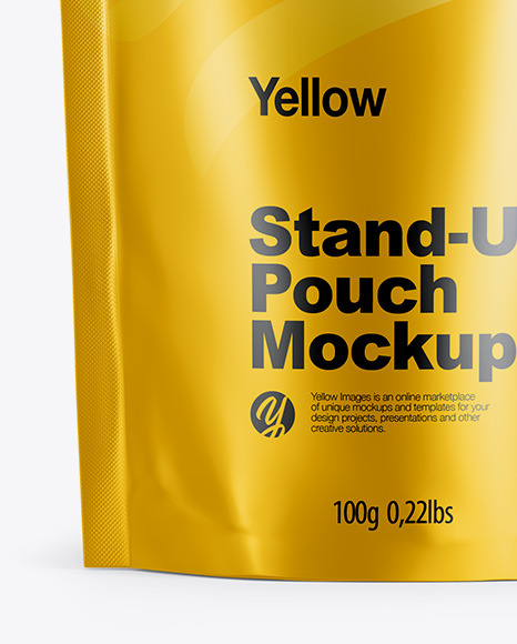 Matte Metallic Stand Up Pouch with Zipper Mockup - Front View