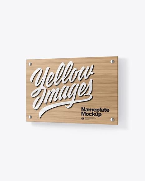Download Wooden Nameplate PSD Mockup