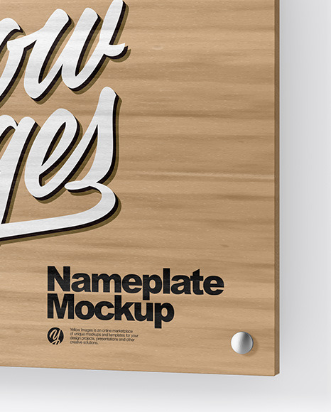 Wooden Nameplate Mockup In Object Mockups On Yellow Images Object
