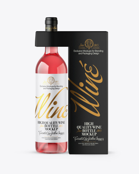 Download Clear Glass Pink Wine Bottle with Box PSD Mockup
