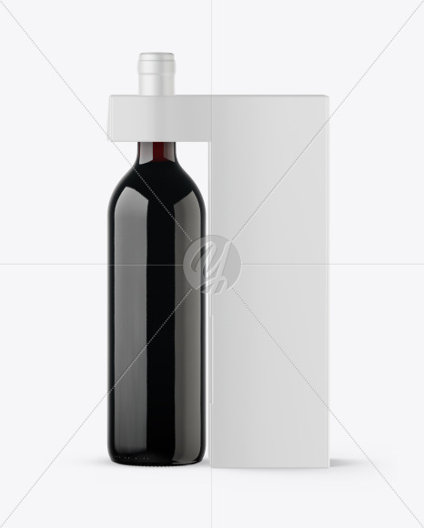 Amber Glass Wine Bottle With Box Mockup In Bottle Mockups On