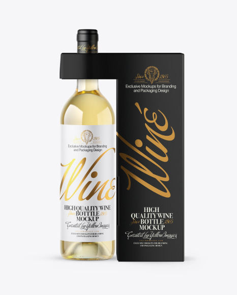 Download Clear Glass White Wine Bottle with Box PSD Mockup