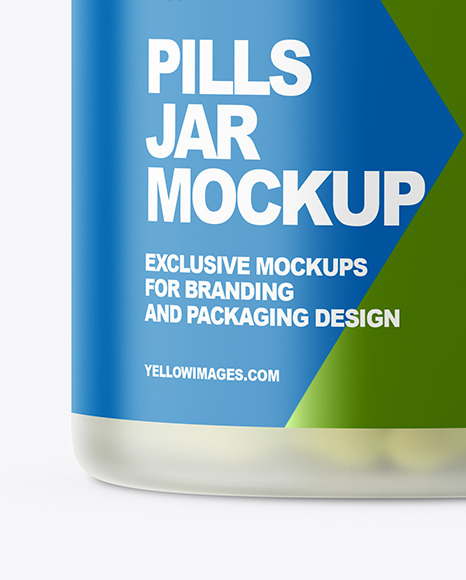 Frosted Pills Jar Mockup In Jar Mockups On Yellow Images Object