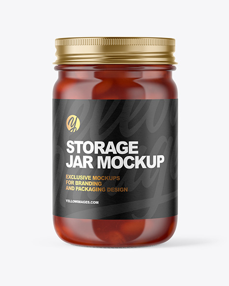 Download Clear Glass Jar with Beans PSD Mockup