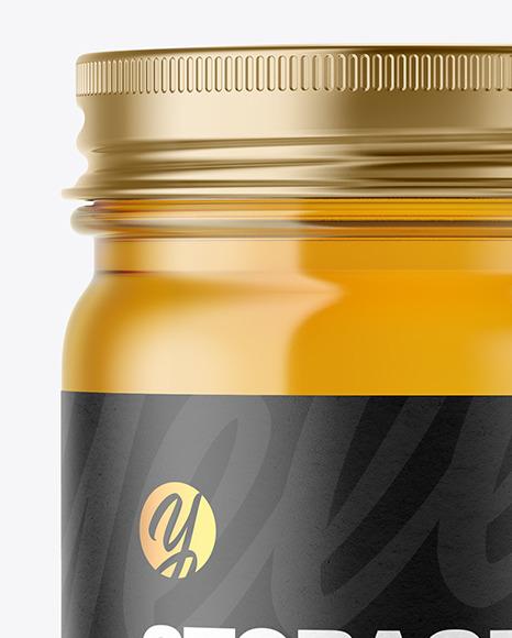 Clear Glass Jar with Honey Mockup