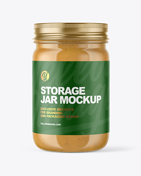 Download Clear Glass Jar with Peanut Butter PSD Mockup