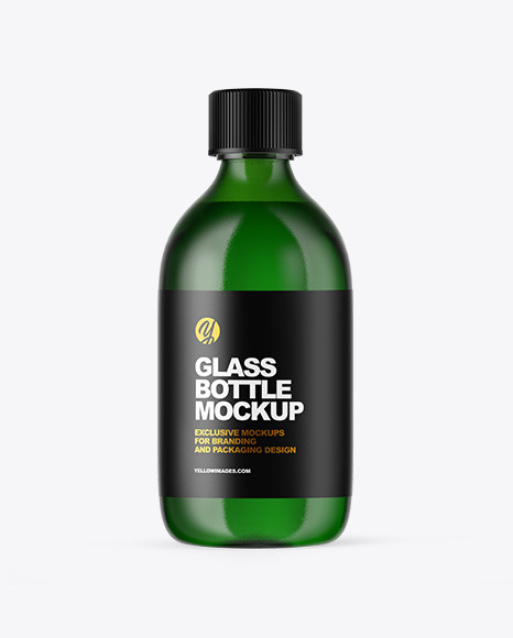 Download Green Glass Oil Bottle PSD Mockup