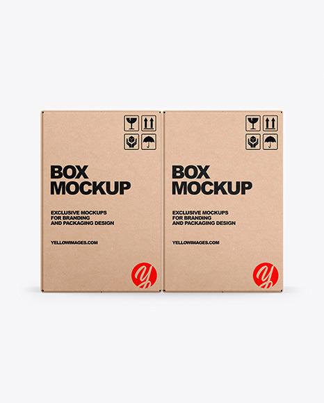 Download Two Kraft Boxes PSD Mockup