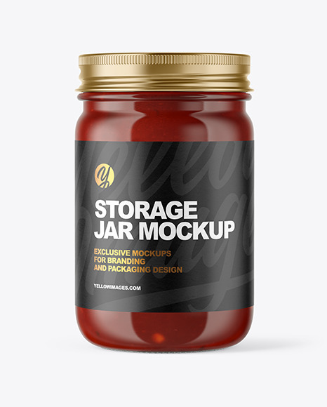 Download Clear Glass Jar with Sauce PSD Mockup