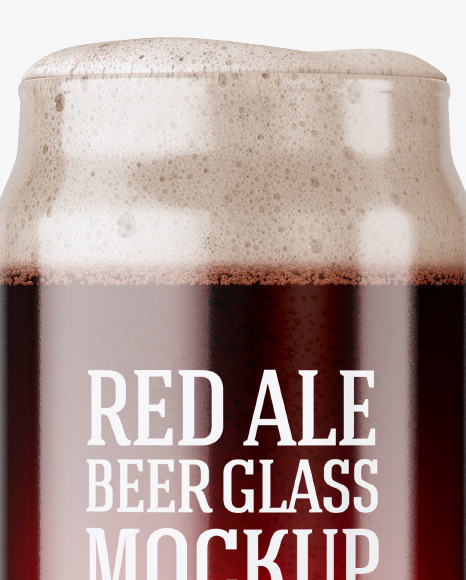 Can Shaped Glass Cup w/ Red Ale Mockup