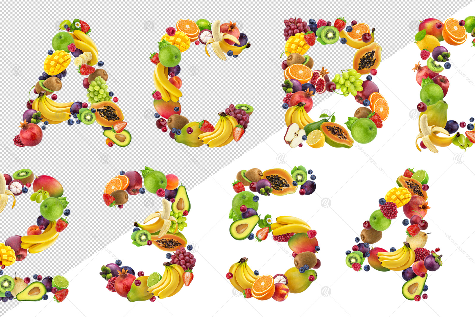 Fruits and berries alphabet