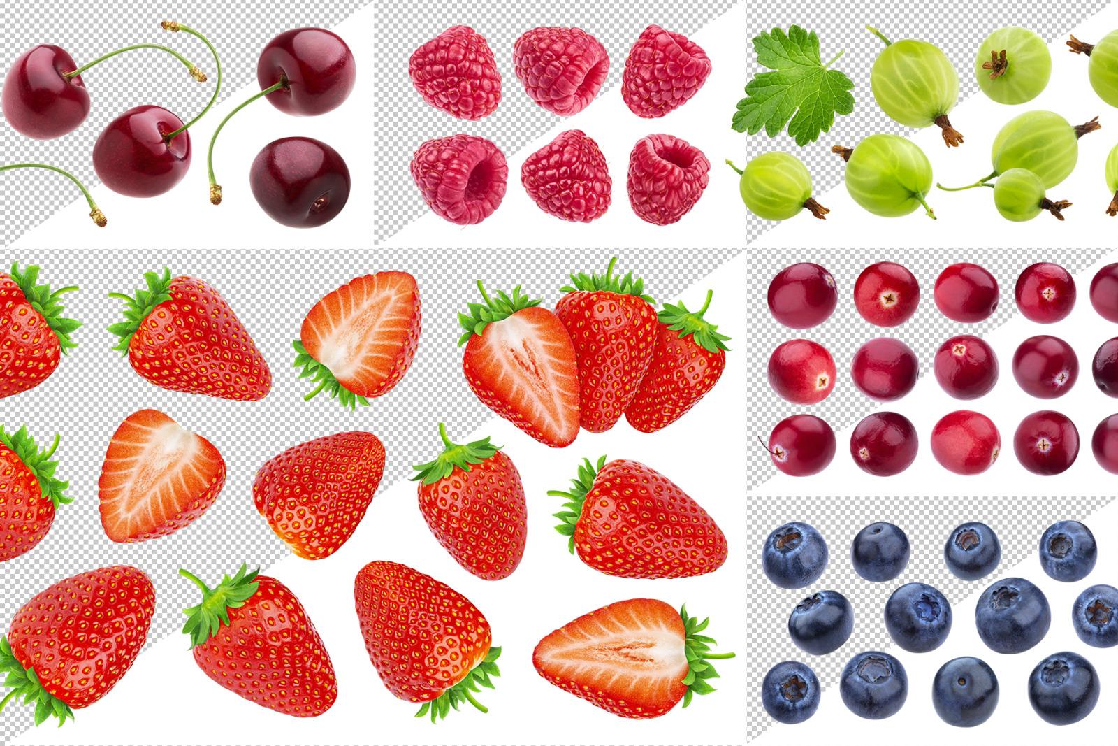 Fruits on transparent background