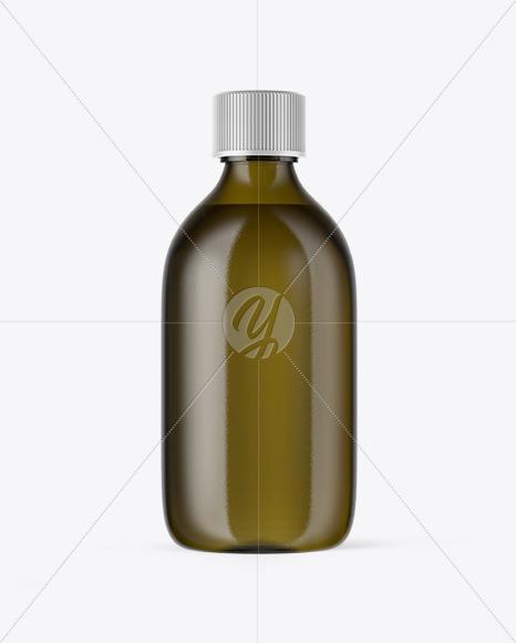 Antique Green Glass Oil Bottle Mockup