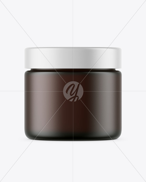 Frosted Dark Amber Glass Cosmetic Jar Mockup