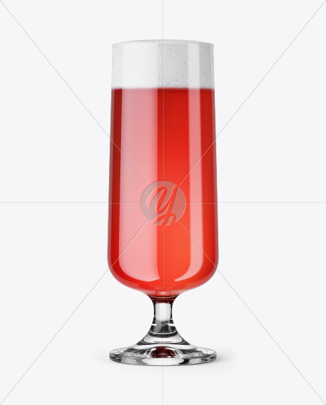 Goblet Glass with Raspberry Ale Mockup