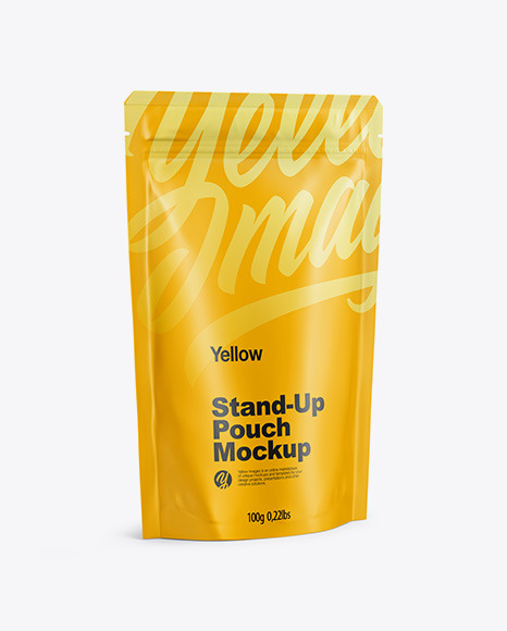 Matte Stand Up Pouch with Zipper Mockup - Half Side View