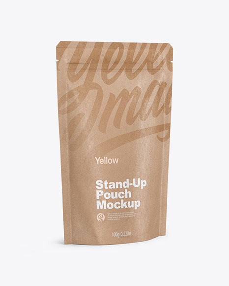 Kraft Stand Up Pouch with Zipper Mockup - Half Side View