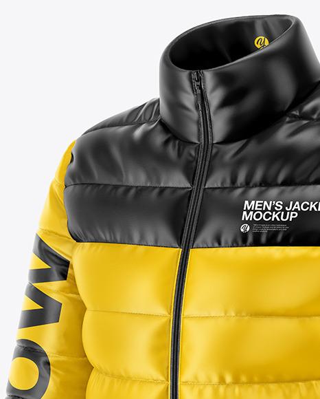 Men's Down Jacket Mockup - Front Half Side View