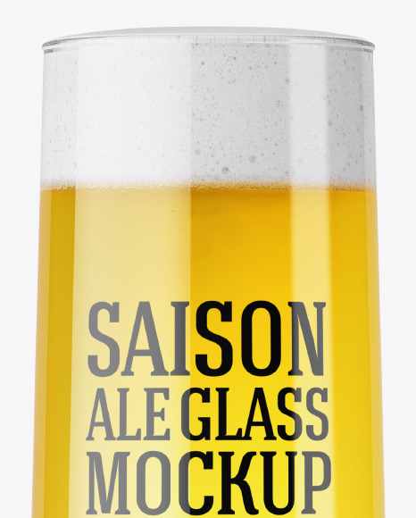 Goblet Glass with Saison Ale Mockup