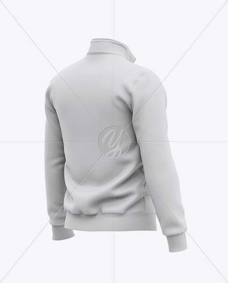 Three Quarter Zipped Sweatshirt Mockup - Back Half Side View Of Pullover